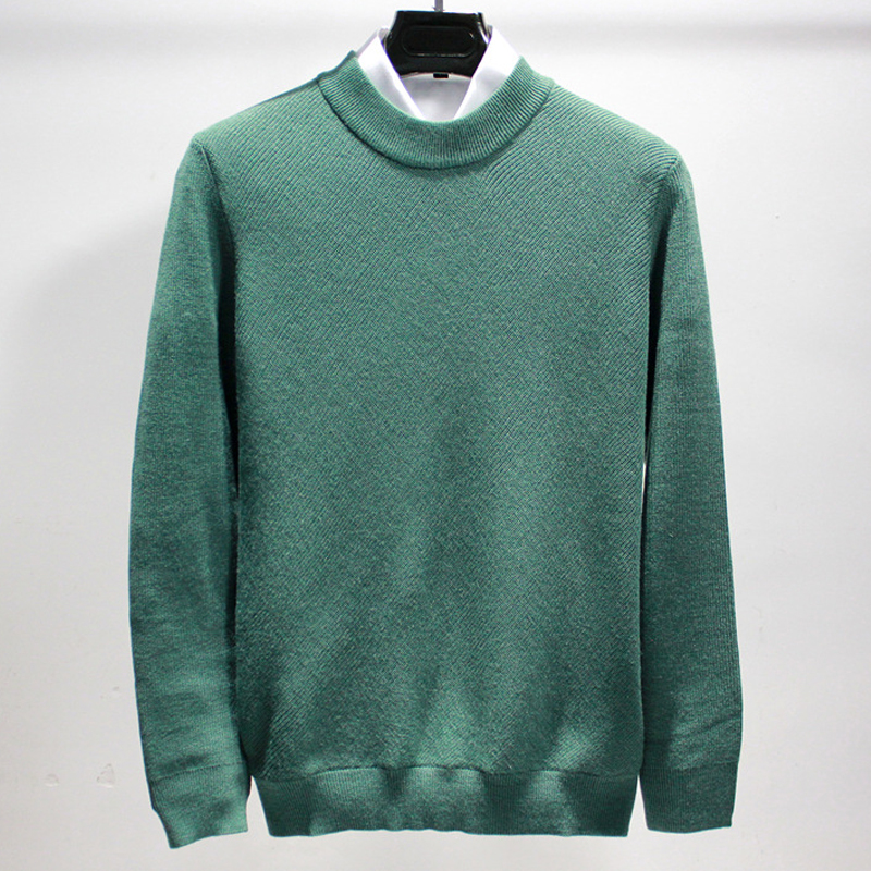 Autumn Men's Pullover Sweater 2019 New England Style Long Sleeve Male Knitting Sweaters Slim Plus Size O-Neck Green Sweater Men