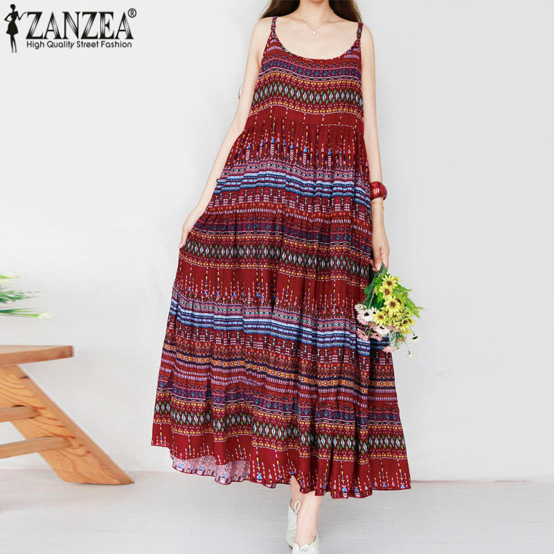 ZANZEA Plus Size 2018 Summer Women Dress Spaghetti Strap Sexy Boho Floral Printed Pleated Vestidos Beach Party Long Maxi Dresses