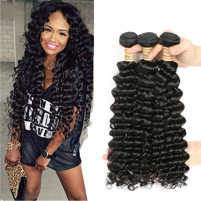 Shoptagr Natural Color Deep Wave 3 Bundles Human Hair Wet And Wavy