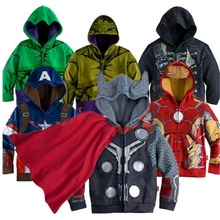 Kids Batman Spiderman Cartoon Hoodie Coats Clothing Sets Boys Clothes Children American Captain Long Sleeves Tracksuit Jacket