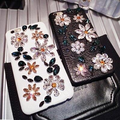imágenes para Brillo de lujo Del Rhinestone Del Diamante Caso Para el iphone 7 6 6 s Plus Bling Crystal Lagarto Impreso Coque Cubierta de cuero Genuino Shell