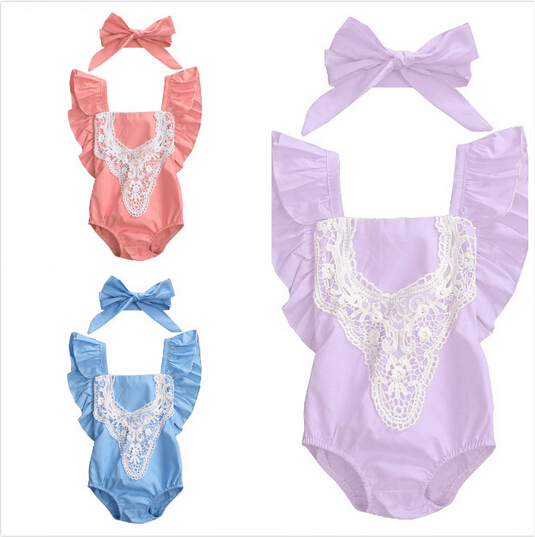 2pcs!!Cute Newborn Baby Girl Lace Splice Fly Sleeve Romper Clothes Cotton Bebes Jumpsuit Sunsuit+Headband Outfit Clothing Set newborn infant baby girl clothes strap lace floral romper jumpsuit outfit summer cotton backless one pieces outfit baby onesie