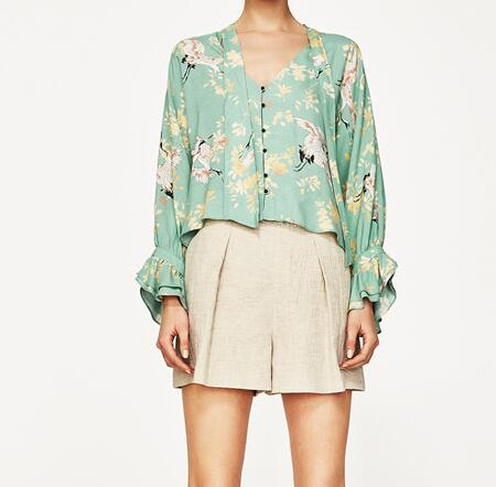 17641890878b9 WISHBOP 2017 Summer Mint Green Floral Animal Printed Shirt Blouse V neck  With BOW Long sleeved Frills Cuffs Front Buttons up-in Blouses   Shirts  from ...