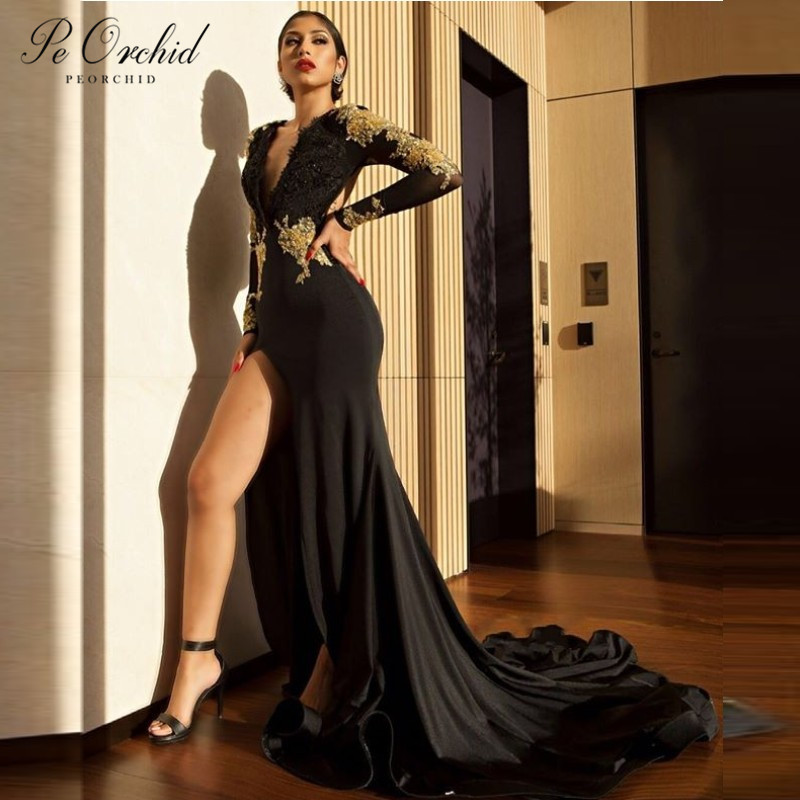PEORCHID 2019 Lace Black And Gold   Prom     Dress   With Sleeves Open Back Sexy Split Long Mermaid Evening   Dress   African Party Gown
