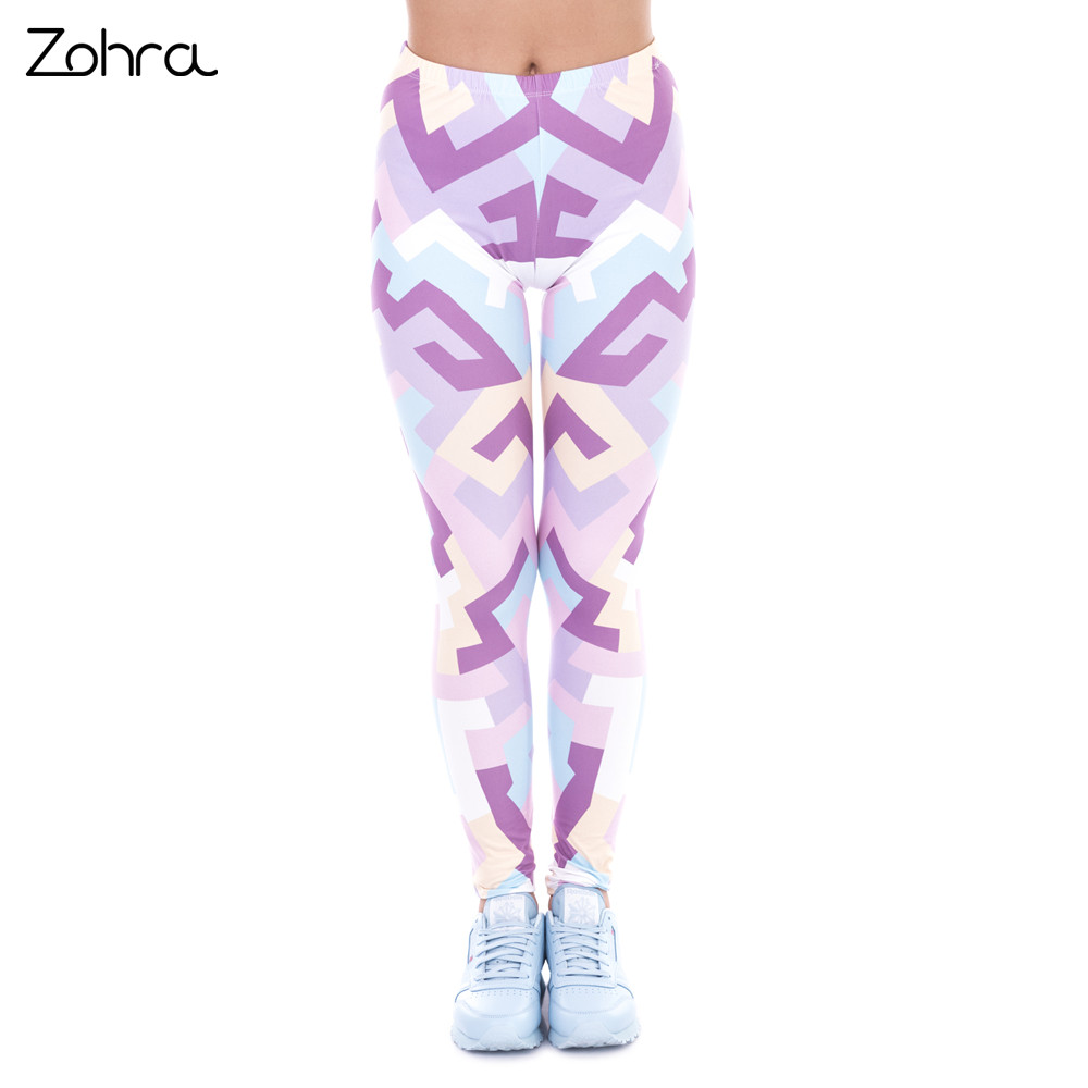 Zohra New Spring Women Legins Geometric Shapes Pink Printing   Legging   Fashion Elegant High Waist Woman   Leggings