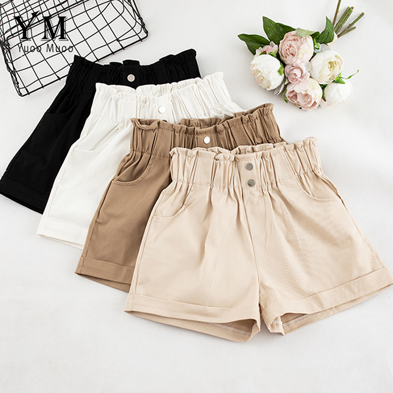 YuooMuoo 2019 Summer Casual High Waist Shorts Buttons Loose Ladies Fashion Korean Style Elastic Waist Pocket Shorts Femme Women
