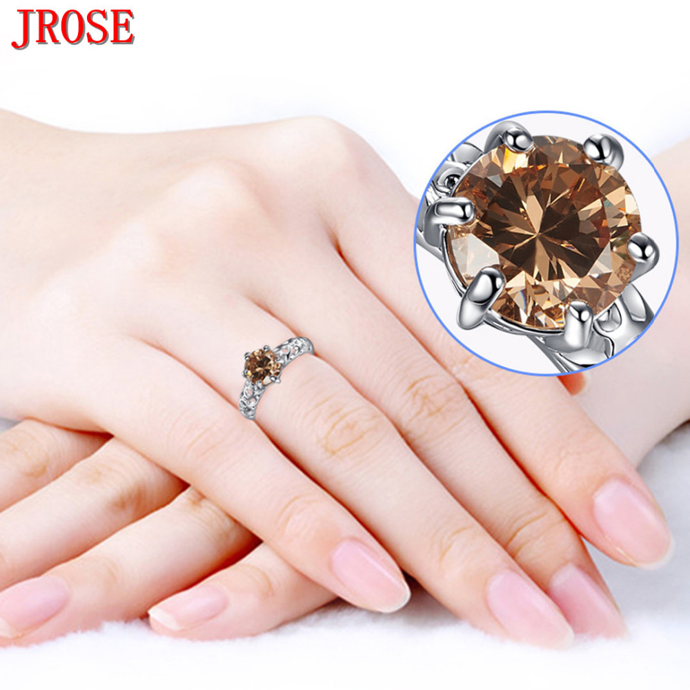 JROSE Wholesale Solitaire Fashion Champagne White Gold Color Ring ...