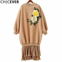 CHICEVER Embroidery Floral Pleated Dress Female Plus Velvet Hem Fake Two Pieces Black Women Dresses Clothes
