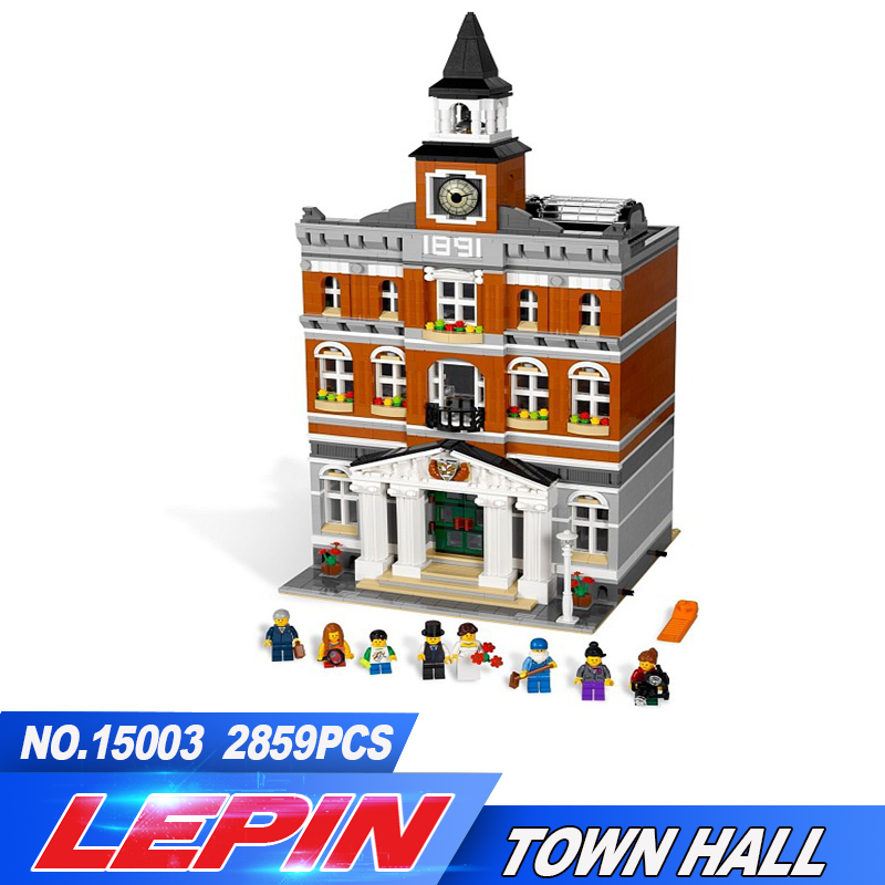 Lepin 2016 DHL 15003 2859 pcs Ville Créateur Town Hall Ensembles Modèle Kits de Construction Set Blocs Compatible legoed Avec 10024