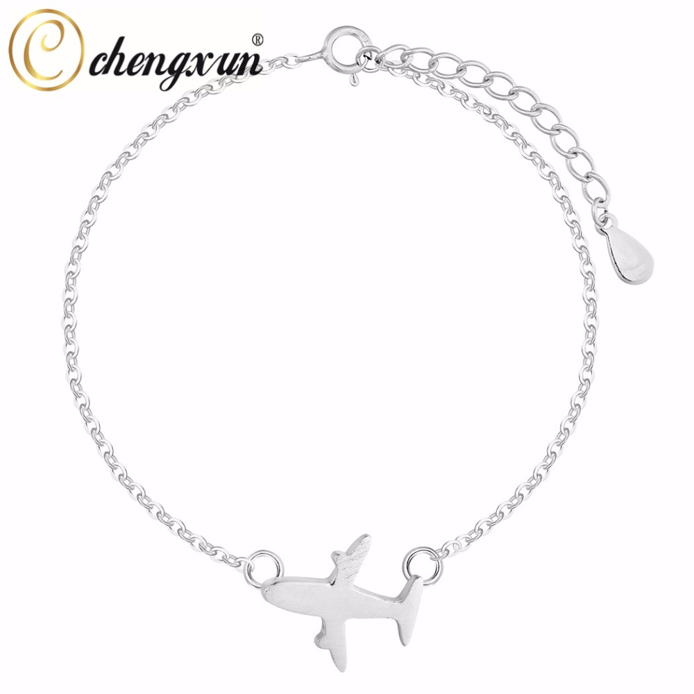 Chengxun 925 Silver Female Airplane Bangle Cuff Bracelets Teen Girls Kids  Gift Simple Fashion Charm Jewelry