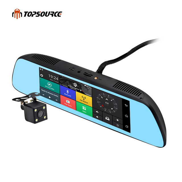 """TOPSOURCE New 7"""" Special 3G CAR Mirror Rearview Car DVR Camera DVRs Android 5.0 With GPS Navigation Automoblie Video Recorder"""