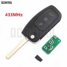 QCONTROL kluczyk samochodowy z pilotem DIY dla ford fusion Focus Mondeo Fiesta Galaxy HU101 ostrze pojazdu klucz składany tanie tanio Vehicle Keyless Entry 433MHz 433 MHz Car Control Alarm 4D60 4D63 or w o Chip KA C-Max D-Max S-Max 4D60 4D63 or No Chip optional