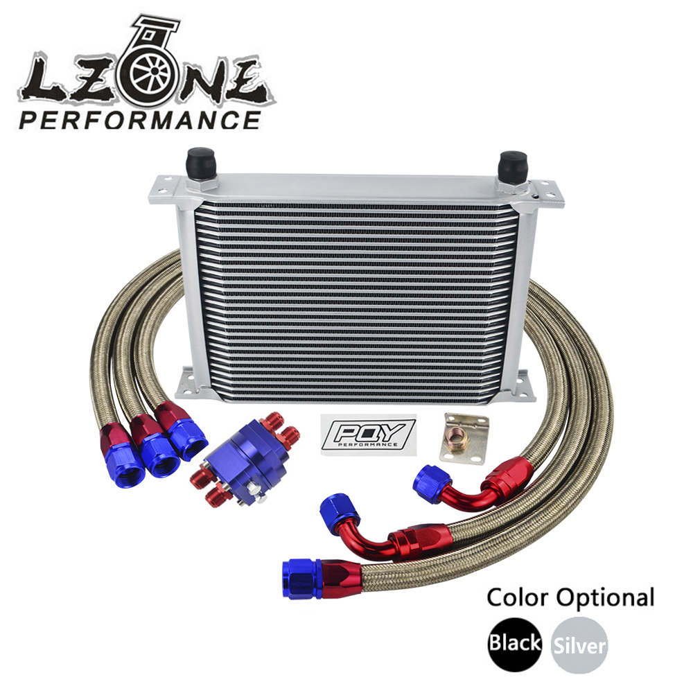 LZONE - UNIVERSAL 28 ROWS AN10 OIL COOLER KIT +OIL FILTER ADAPTER + NYLON STAINLESS STEEL BRAIDED HOSE WITH PQY STICKER+BOX цена