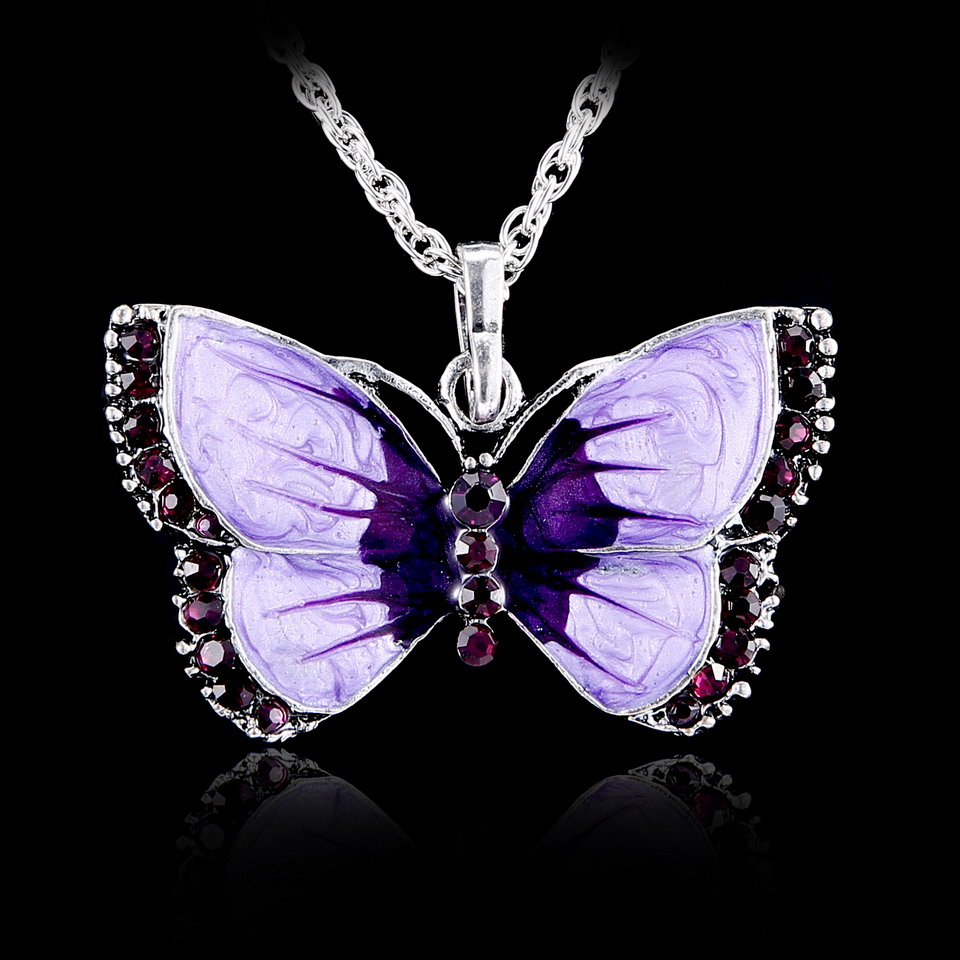 Adorable Dragonfly Necklace Blue and Purple Crystal Wings Fast Shipping