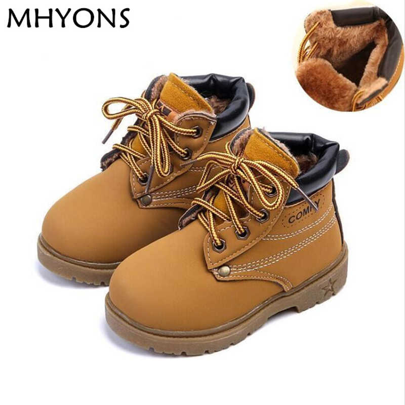 MHYONS Winter Warm Child Snow Boots Shoes Spring Autumn Girls Boys Boots Flat With Size 21-30 Kids Children Baby Boots Shoe