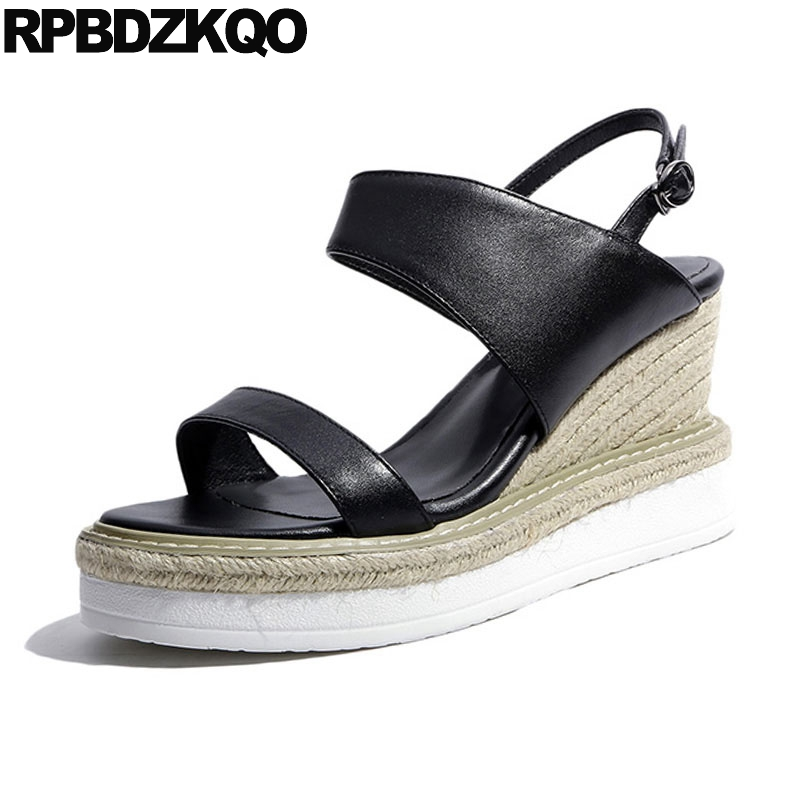 Women Casual High Heels Two Strap Sandals Slingback Pumps Espadrilles Wedge Genuine Leather Summer Platform Shoes Designer Rope 2016 summer women flat platform slippers fashion hemp rope insole ladies genuine leather buckle sandals designer espadrilles