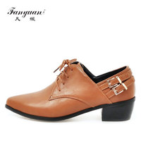 Fanyuan women Safety med Chunky heels neutral Buckle decoration 4 color Lace up girls pumps mature Pointed toe ladies Job shoes