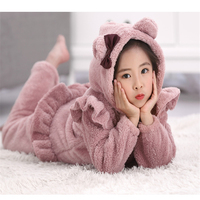 Styles All In One Flannel Anime Pijama Cartoon Cosplay Warm Sleepwear Hooded Homewear Women Cute Child
