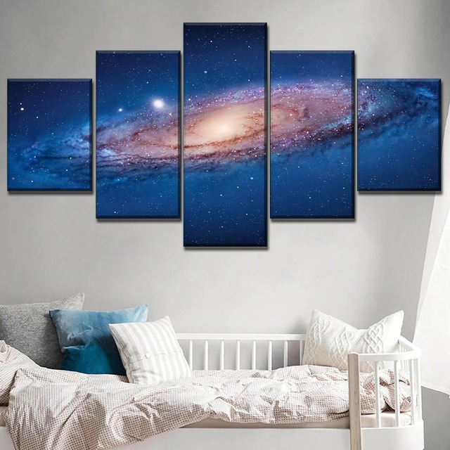 Combinatorial Art Modular Picture 5 Piece Universe Galaxy On Canvas Printing Type Poster Home Decorative Living Room Wall