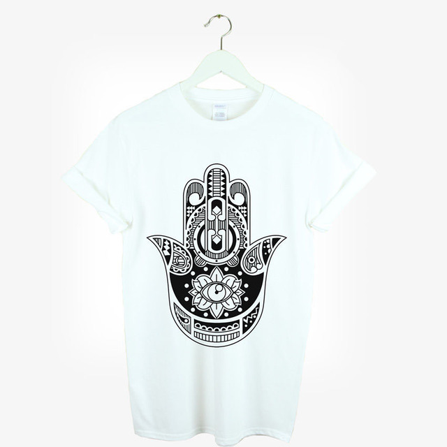 HAMSA HAND T SHIRT BOHO KITSCH URBAN HIPSTER LOVE SWAG TUMBLR GIFT Cartoon Brand Clothing For