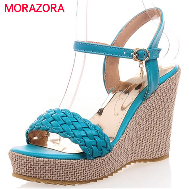 MORAZORA Large size 34-43 wedges shoes woman summer high heels sandals women shoes buckle PU platform shoes party fashion anmairon shallow leisure striped sandals women flats shoes new big size34 43 pu free shipping fashion hot sale platform sandals