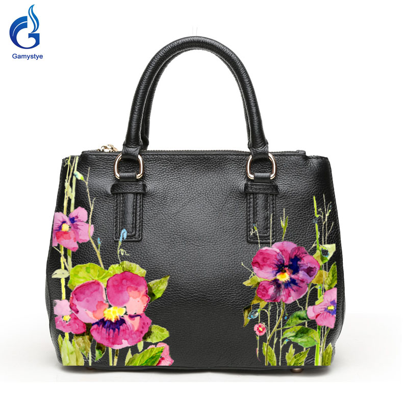 Gamystye Genuine leather Handbags New Design LOVE Flowers Graffiti hand oil Paint Letters On Women Bags Women handbag Customize letters on familiar matters vol ix–xvi