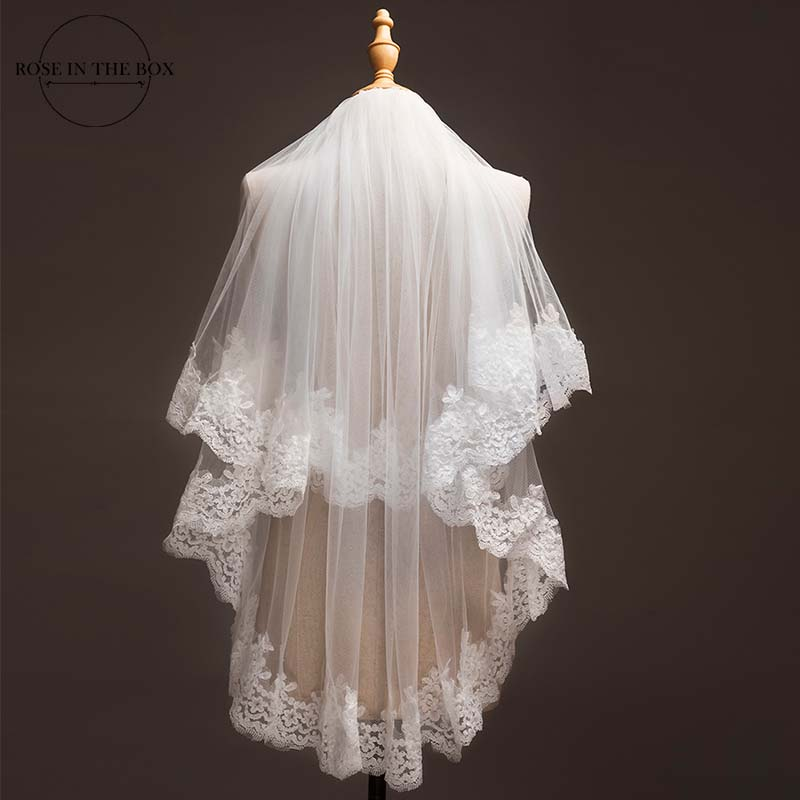 Voile Mariage 1.2 Meters Lace Edage Short Wedding Veil 2019 Tulle Ivory/White Bridal Veil Wedding Accessories Velos De Novia