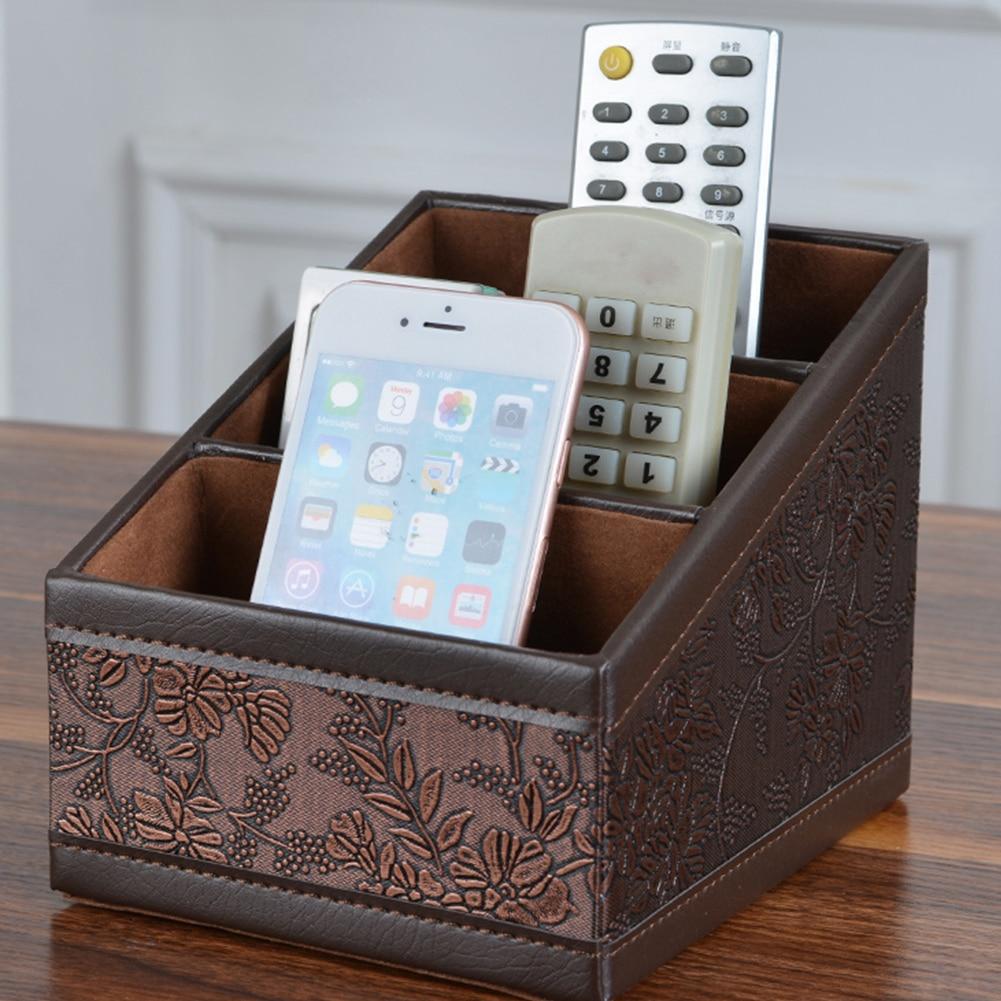 Retro PU Storage Box Flower Patterned Office Organizer 3 Lattices Container Case Makeup Remote Controls Holder Home Decor