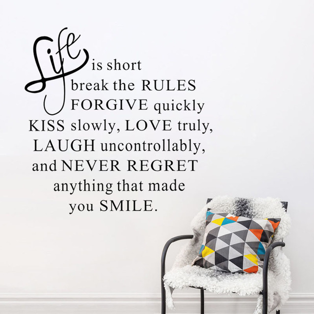 Zooyoo Life Is Short Text Wall Decal Quotes Wall Stickers Home Decor