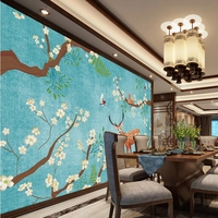 Deer Wall Mural Nordic Fresh Sika Floral Flower Wall Decor Living Room Sofa Ideas Large Wall
