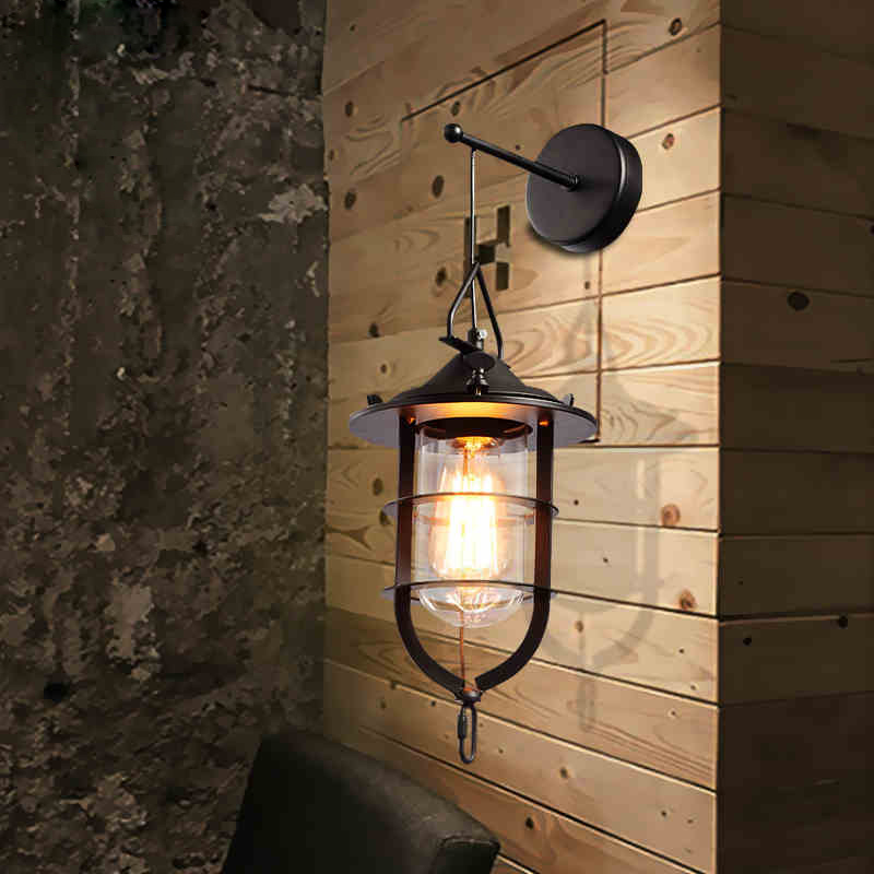loft personality simple retro black iron metal wall lamp balcony staircase aisle wall lamp bedside lamp