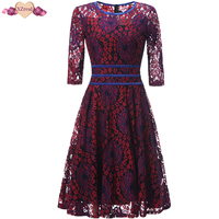 New Vintage Lace Rockabilly Dress Women Autumn Retro Evening Party Dresses Female Clothes Retro O Neck