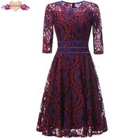 New Vintage Lace Rockabilly Dress Women Autumn Retro Evening Party Dresses Female Clothes Retro O Neck