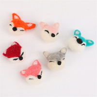 Più nuovo 10 Pz Handmade 3D Animal Fox Bambole Gioielli FAI DA TE Accessori Dell'ornamento Del Mestiere Feltro di Lana Pulsante Patch Sticker Craft Decor