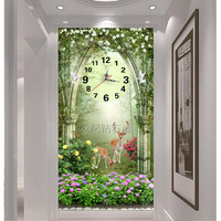 5D Square Diamond Drilling Painting, Full Paste Drilling Cross Stitch, Dream Garden, Deer, Mosaic Embroidery Wall Clock,