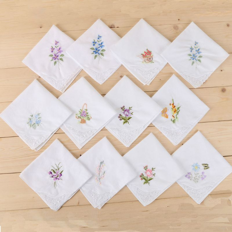 3Pcs/Set Women Basic White Square Handkerchief Floral Embroidered Pocket Hanky Butterfly Lace Cotton Baby Bibs Portable Towel Na