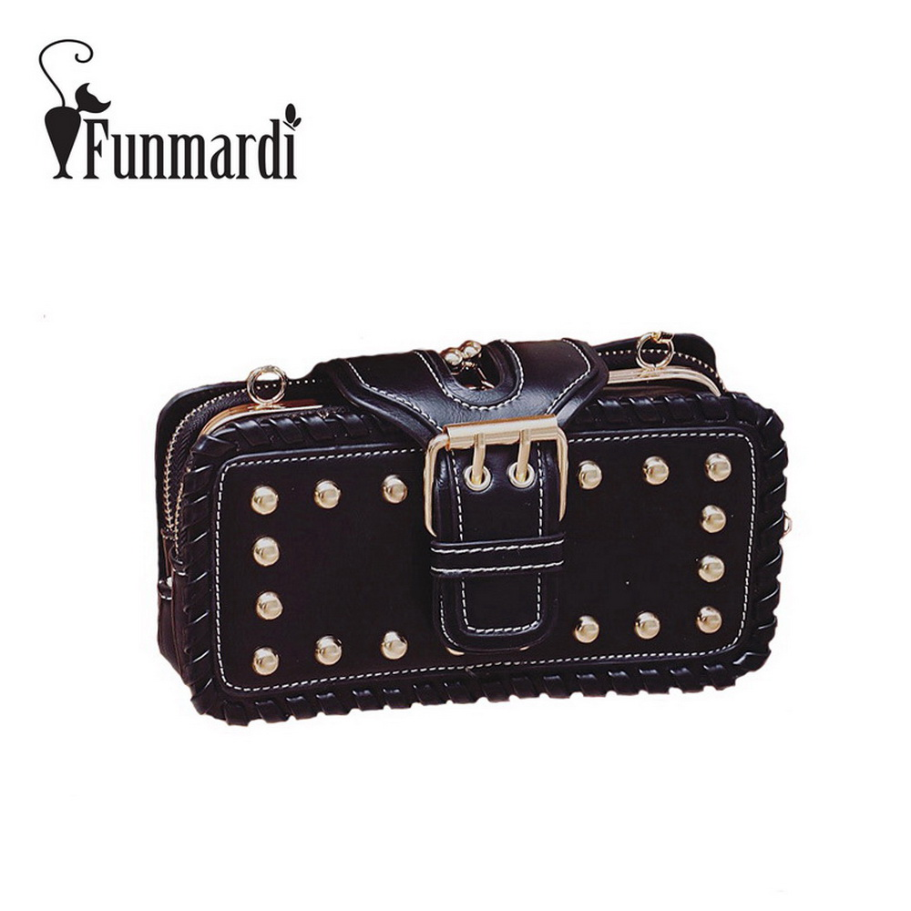 FUNMARDI Luxury Rivet leather Clip bag Punk style messenger bag Retro 3 layers shoulder bag brand design women bags WLHB1609 punk style solid color and rivets design women s shoulder bag