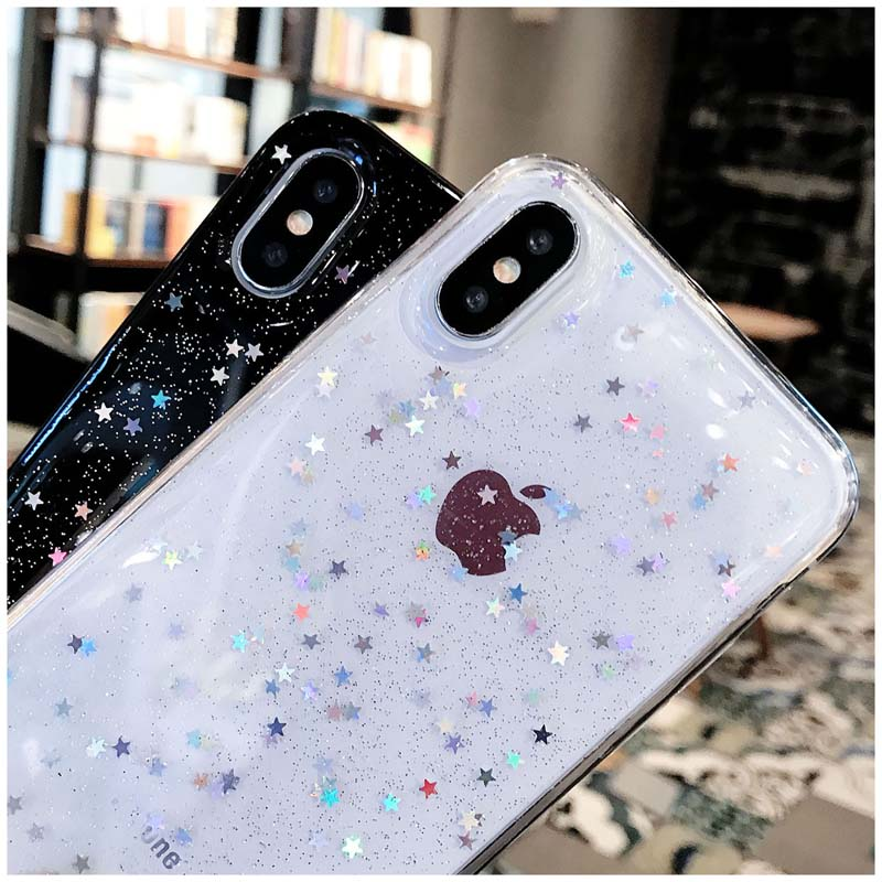 HTB1G6blM4naK1RjSZFBq6AW7VXau - Lovebay Bling Star Glitter Soft TPU Phone Cases For iphone 11 Pro XS Max XR X 8 7 6 6S Plus 5S SE Powder Transparent Cover