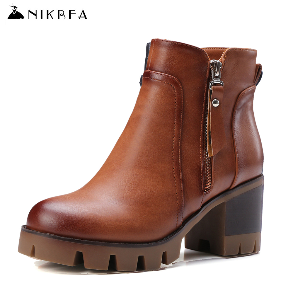 Nikbea Handmade Chunky Platform Boots Large Size Vintage Ankle Boots for Women 2016 Winter Boots Autumn Shoes Botas Largas Mujer nikbea handmade genuine leather western boots cowboy large size women pointed toe boots 2016 autumn shoes fashion botas mujers