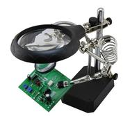 BST 16129C 5 LED Auxiliary Clip Magnifier 3 In 1 Welding Magnifying Glass with helping Hand Soldering Solder Iron Stand Holde
