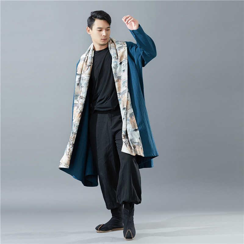 Hisenky мужские Тренч 2019 осень-зима Mountain воротник китайский Стиль Повседневное свободные накидки тянущийся кардиган ветровка, длинное пальто