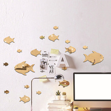 Stickers Mural Decal Removable 3d Mirror 3d-Effect Home-Decor Luxury Art Wall Sea-Fish-Bubble