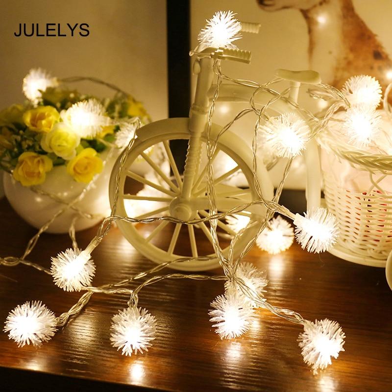 JULELYS 5M 40 Garland Battery Powered Festoon LED Light Ball Christmas String Lights Decoration For Wedding Holiday Birthday