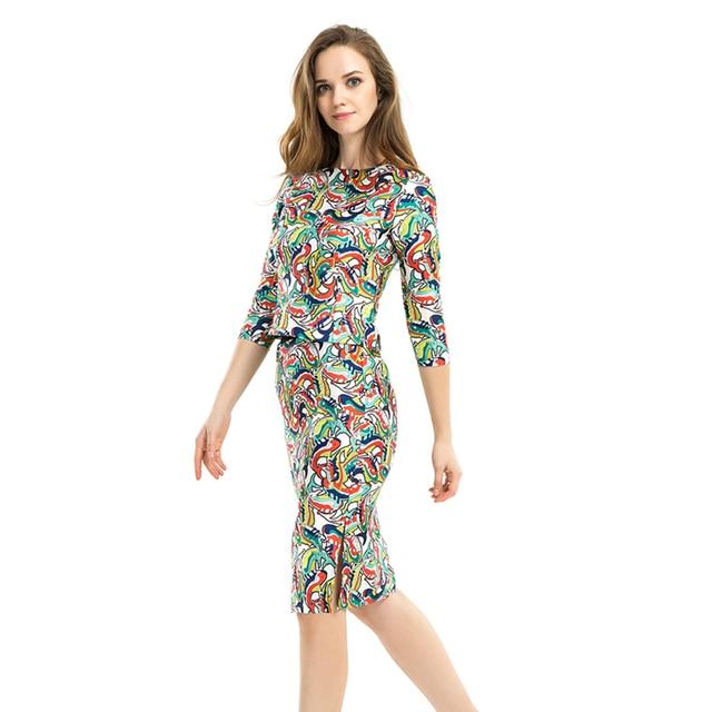 1e19c34b5ef72 2 Piece Skirt Set Women Ethnic Floral Print 3 4 Sleeve Crop Tops + Side  Split Bodycon Midi Skirt Business Formal Office Suits