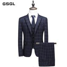 7536e9613f9c56 Britischen Stil Plaid Casual Anzug Männer Einreiher herren Business  Hochzeit Anzüge 3 Stück Set (Jacke + Weste + hosen)