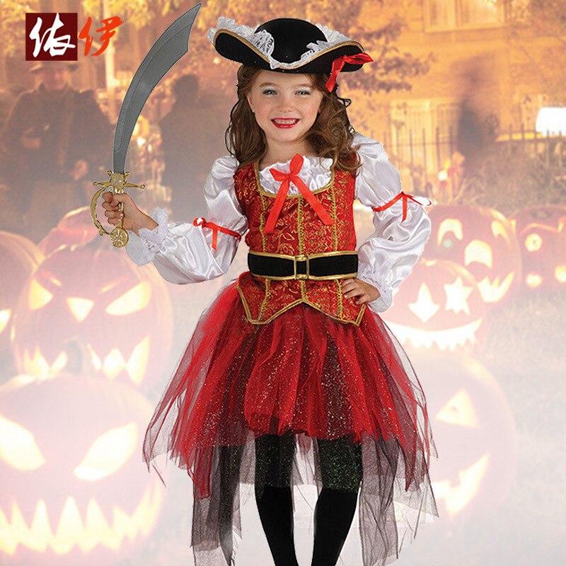 Halloween Costume Kindergarten Dance Dress Girl Suit Cosplay Pirate Thief Children Wear halloween cosplay costume children little napoleon long acting costume