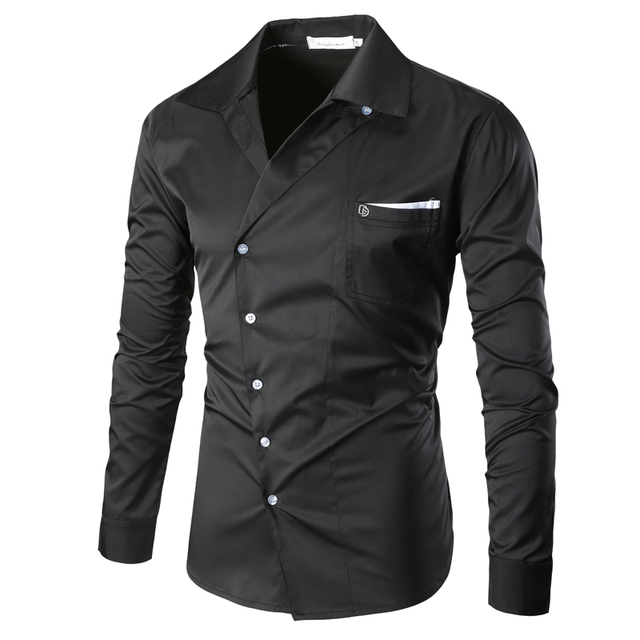 2017 New Male Casual Fashion Men's Autumn Turn Down collar Oblique Button Designed slim fit Formal shirt long sleeve Dress Shirt