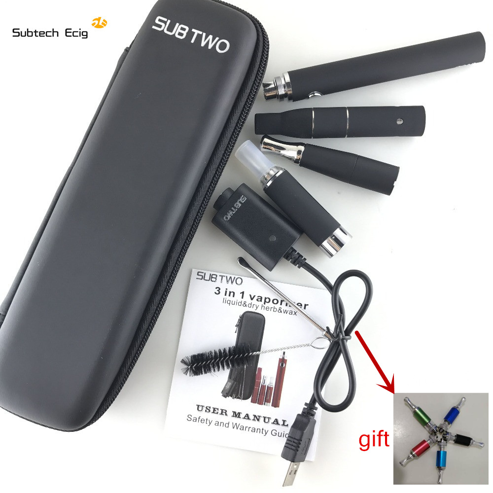 Cigarette électronique SOUS DEUX evod 3 dans 1 e cigarette Vaporisateur herbe Sèche Cire Liquide Cigarette starter Kit