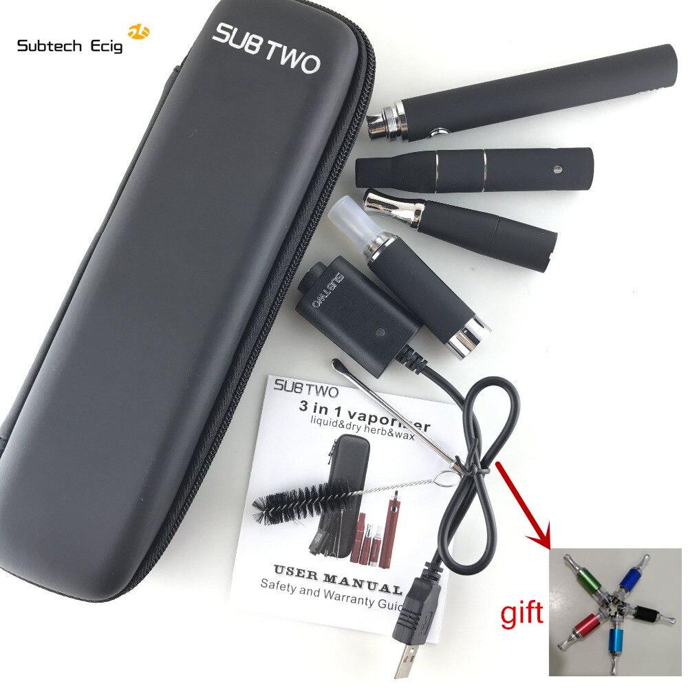 Cigarrillo electrónico SUB evod 3 en 1 e cigarrillo vaporizador hierba seca cera líquido cigarrillo electrónico starter Kit