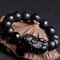 Natural Black Agate Bracelet Six-word Mantra Beads Bracelet Obsidian Pixiu Bangles Bracelets grentam Men's Jade Jewelry